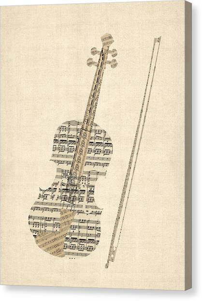 Sheet Canvas Print - Violin Old Sheet Music by Michael Tompsett