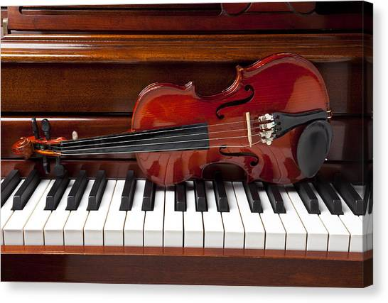 Electronic Instruments Canvas Print - Violin On Piano by Garry Gay