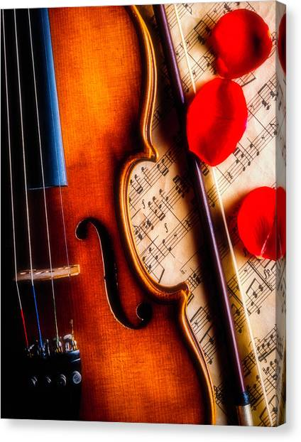 Fiddling Canvas Print - Violin With Rose Petals by Garry Gay