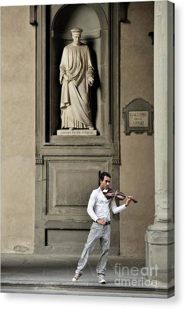 The Uffizi Gallery Canvas Print - Violinist Under Statue Of Cosimo De Medici. Uffizi Gallery, Florence, Italy by David Lyons