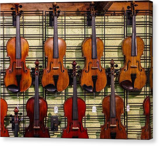 Violins In A Shop Canvas Print