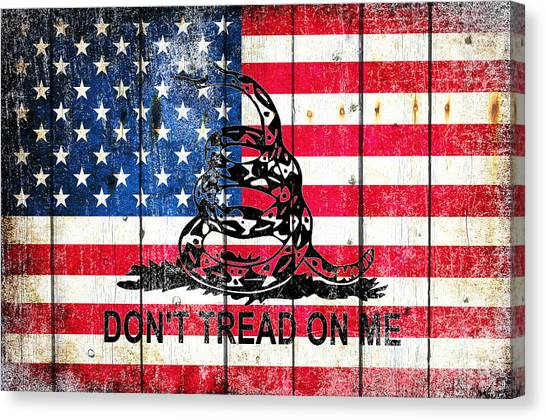 Viper On American Flag On Old Wood Planks Canvas Print