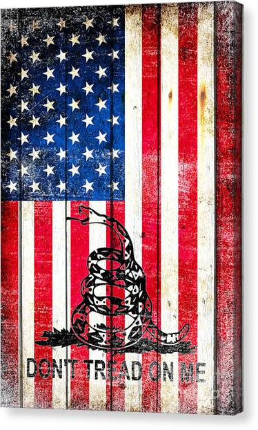Viper On American Flag On Old Wood Planks Vertical Canvas Print