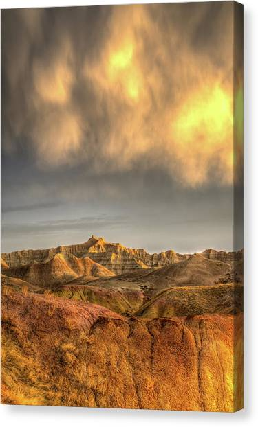 Virga Over The Badlands Canvas Print