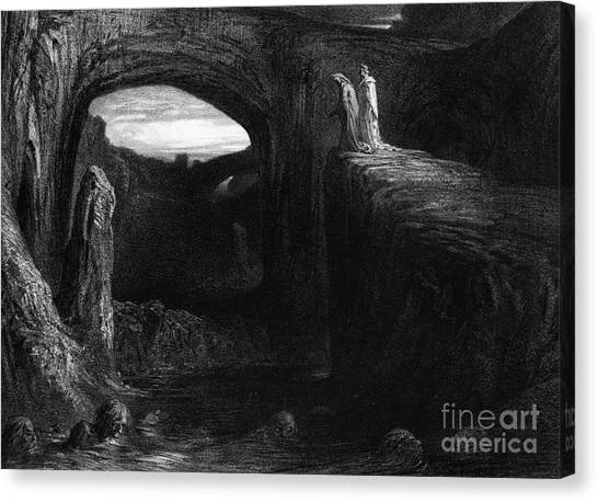 Fantasy Cave Canvas Print - Virgil And Dante Entering Hell by Gustave Dore