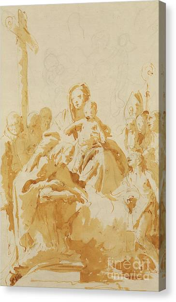 The Christ Ink Drawing Canvas Print - Virgin And Child Adored By Bishops, Monks And Women by Tiepolo