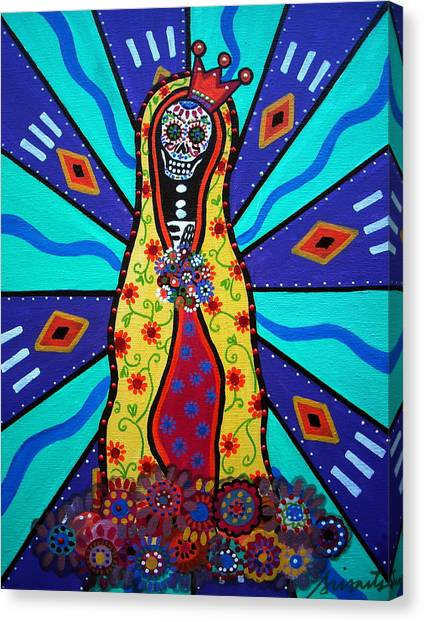 Virgin Guadalupe Day Of The Dead Canvas Print