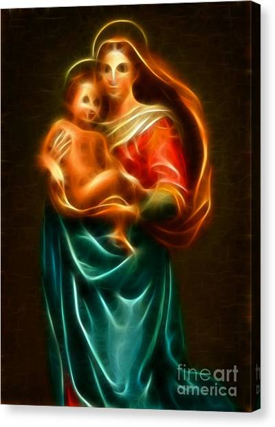 Messiah Canvas Print - Virgin Mary And Baby Jesus by Pamela Johnson