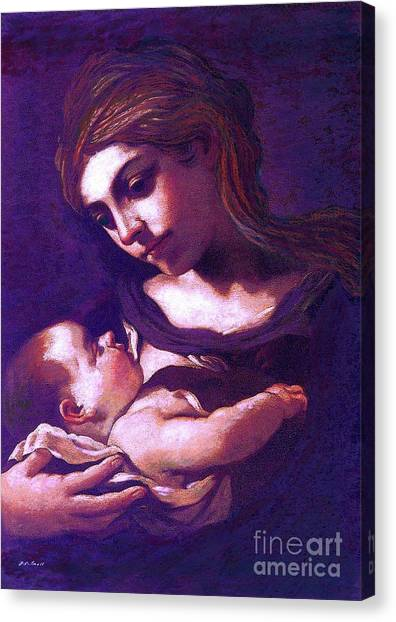 Figurative Canvas Print - Virgin Mary And Baby Jesus, The Greatest Gift by Jane Small