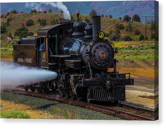 Steam Trains Canvas Print - Virgina Truckee Steam Train by Garry Gay