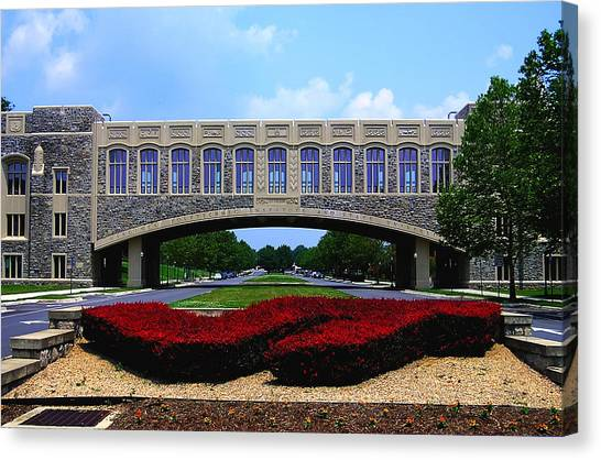Virginia Polytechnic Institute And State University Virginia Tech Canvas Print - Virginia Tech - Torgersen Bridge by Andrew Webb