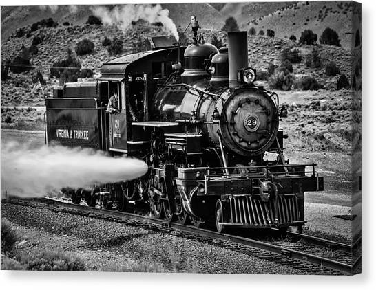 Steam Trains Canvas Print - Virginia Truckee Train In Black And White by Garry Gay