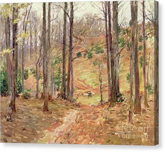 Fallen Leaf Canvas Print - Virginia Woods, 1893 by Theodore Robinson