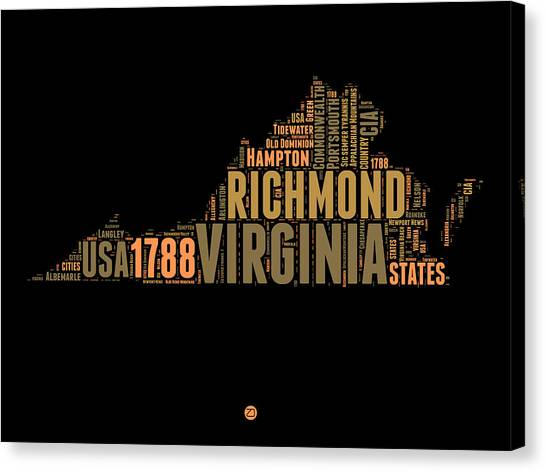 Independence Day Canvas Print - Virginia Word Cloud Map 1 by Naxart Studio