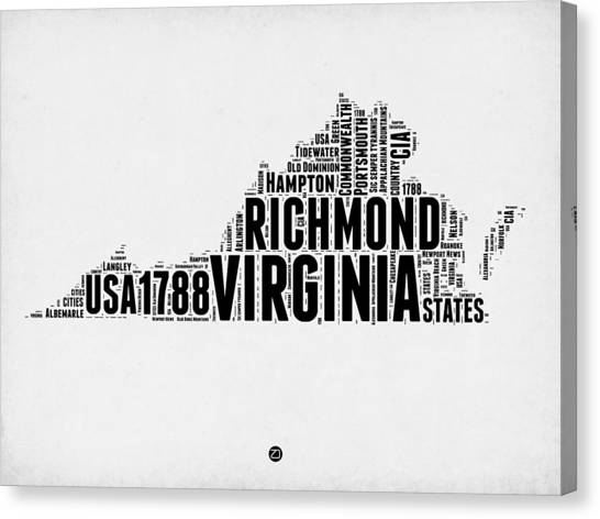 Virginia Canvas Print - Virginia Word Cloud Map 2 by Naxart Studio