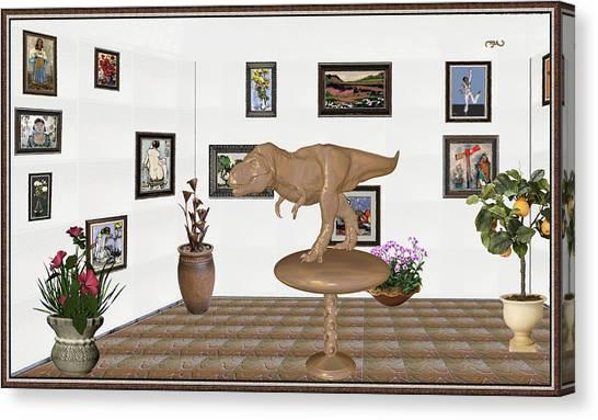 Statue Portrait Canvas Print - Virtual Exhibition _ Dinosaur Rex by Pemaro
