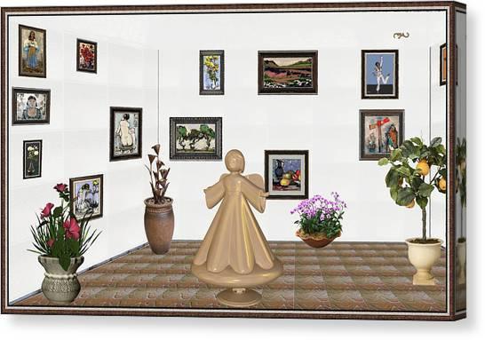 Statue Portrait Canvas Print - virtual exhibition_Statue of angel 22 by Pemaro