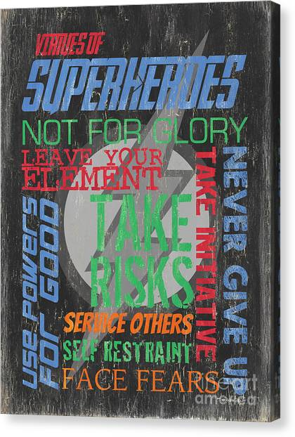 Boy Canvas Print - Virtues Of Superheroes by Debbie DeWitt