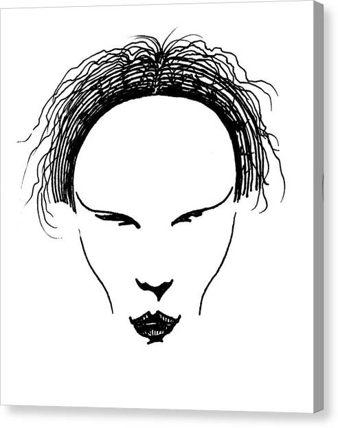 Canvas Print featuring the drawing Visage by Keith A Link