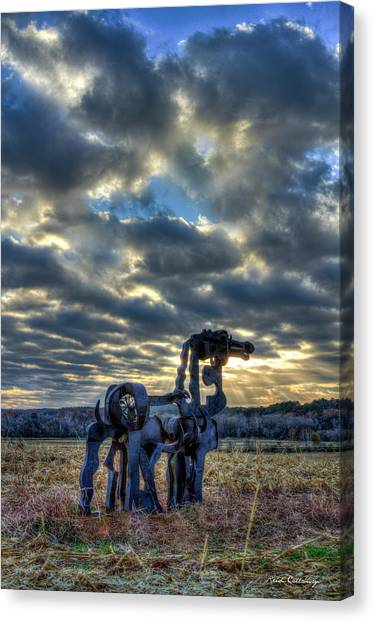 University Of Georgia Canvas Print - Visible Light The Iron Horse Sunrise Art by Reid Callaway