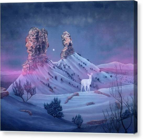 Vision Of The Legend Of White Deer Woman-chimney Rock Colorado Canvas Print