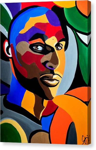 Visionaire - Male Abstract Portrait Painting - Abstract Art Print Canvas Print