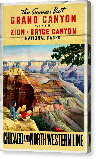 Visit Grand Canyon - Folded Canvas Print