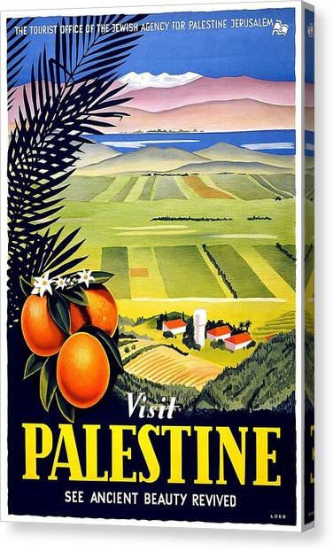 Palestinian Canvas Print - Visit Palestine, Jerusalem - See Ancient Beauty Revived - Retro Travel Poster - Vintage Poster by Studio Grafiikka
