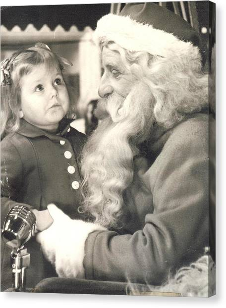 Visiting Santa For The First Time Canvas Print