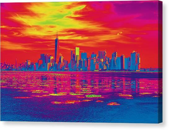 Vivid Skyline Of New York City, United States Canvas Print