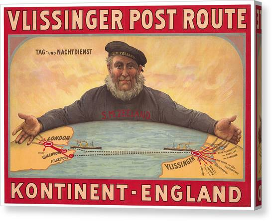 Vlissinger Post Route - Zeeland Maritime Company Poster - London To Flushing Ship Route Canvas Print