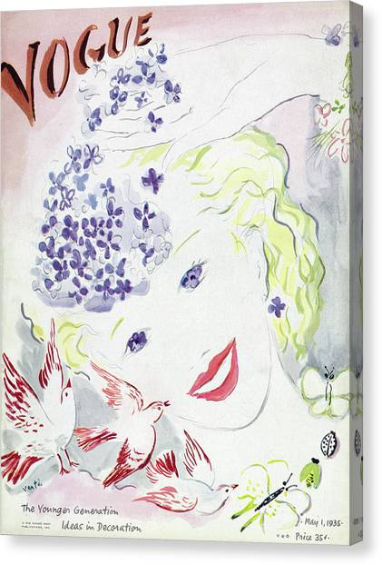 Vogue Cover Illustration Of A Blonde Woman Canvas Print