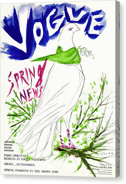 Vogue Cover Illustration Of A Dove Wearing Canvas Print