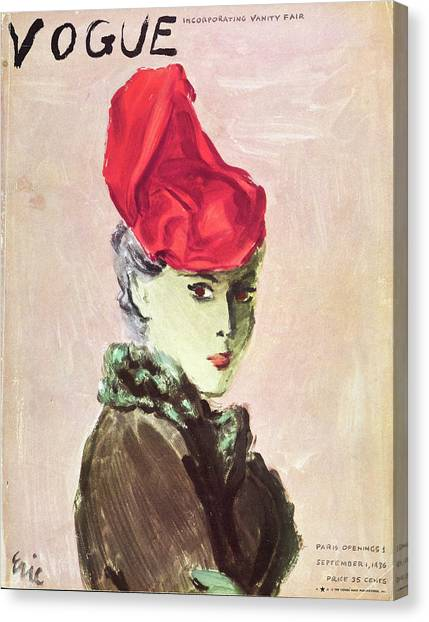 Vogue Cover Illustration Of A Woman Wearing A Red Canvas Print by Carl Oscar August Erickson
