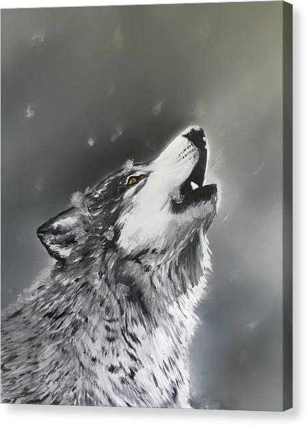 Howling Wolves Canvas Print - Voice In The Night by Joel Cafiero