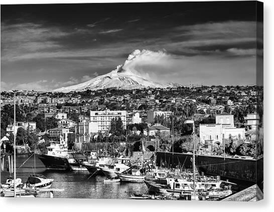 Volcano Etna Seen From Catania - Sicily. Canvas Print
