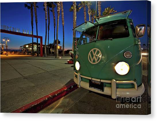 Volkswagen Bus At The Imperial Beach Pier Canvas Print