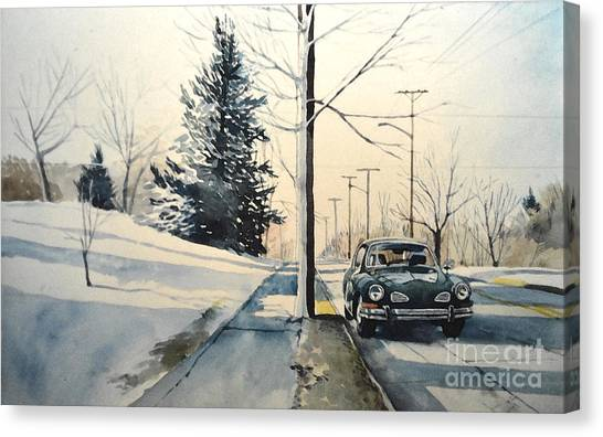 Volkswagen Karmann Ghia On Snowy Road Canvas Print