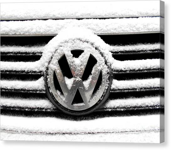Volkswagen Symbol Under The Snow Canvas Print