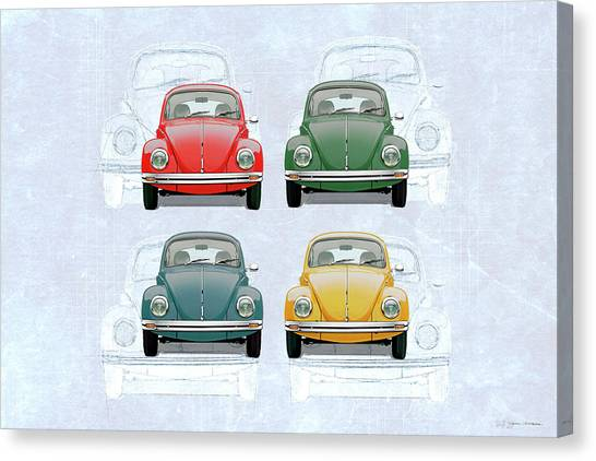 Volkswagen Type 1 - Variety Of Volkswagen Beetle On Vintage Background Canvas Print