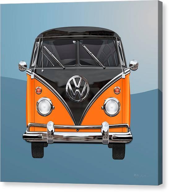 Volkswagen Type 2 - Black And Orange Volkswagen T 1 Samba Bus Over Blue Canvas Print