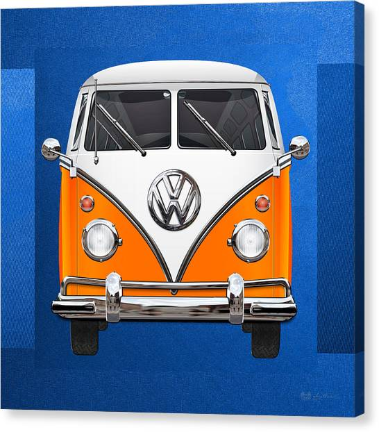 Automobiles Canvas Print - Volkswagen Type - Orange And White Volkswagen T 1 Samba Bus Over Blue Canvas by Serge Averbukh