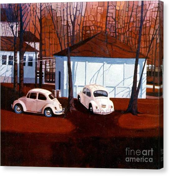 Volkswagons In Red Canvas Print