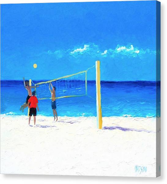 Volleyball Canvas Print - Volleyball Beach Painting by Jan Matson