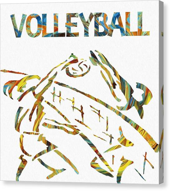 Volleyball Canvas Print - Volleyball Paint Poster by Dan Sproul