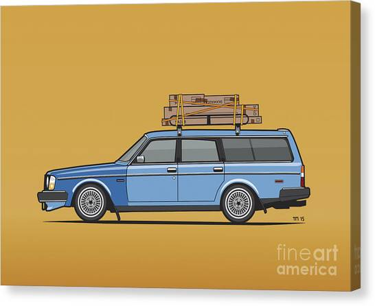 Planet Canvas Print - Volvo 245 Brick Wagon 200 Series Blue Shopping Wagon by Monkey Crisis On Mars