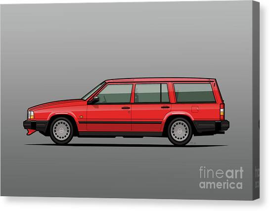 Grandpa Canvas Print - Volvo 740 745 Classic Red by Monkey Crisis On Mars
