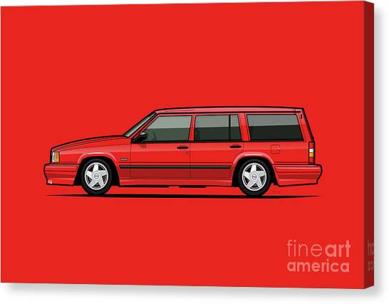 Grandpa Canvas Print - Volvo 740 745 Se Turbo Classic Red by Monkey Crisis On Mars
