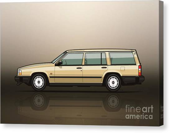 Grandpa Canvas Print - Volvo 740 745 Wagon Gold by Monkey Crisis On Mars