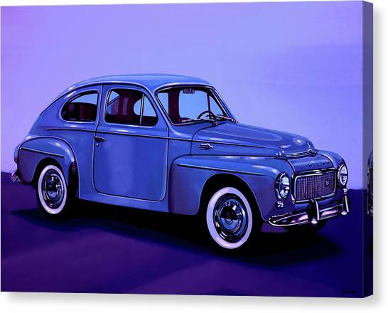 Race Cars Canvas Print - Volvo Pv 544 1958 Mixed Media by Paul Meijering